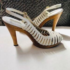 🌹Vintage Michael Kors White Lthr Wood Heel Sandal